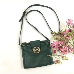MK Michael Kors Green Fulton Leather CrossBody Bag